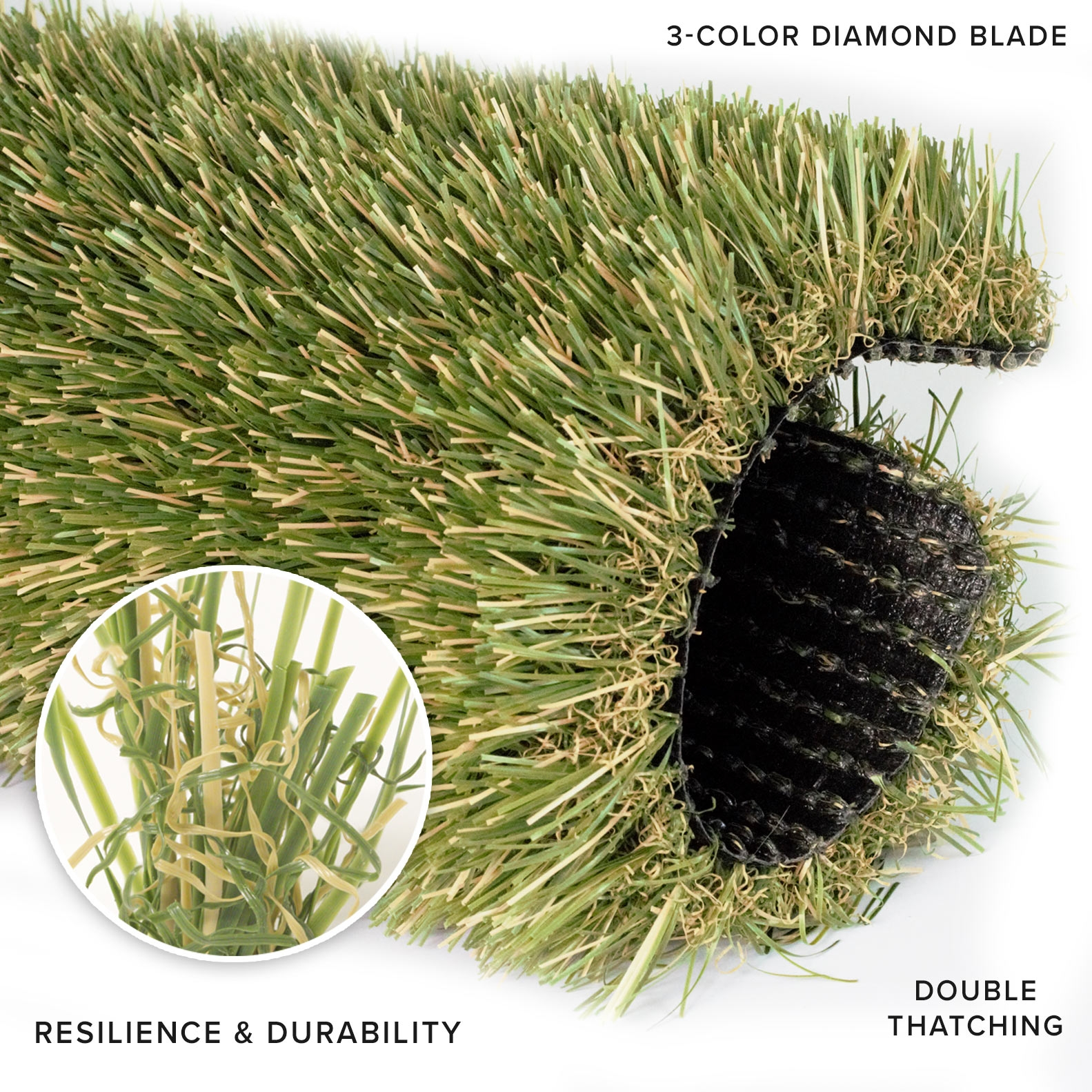 Natural Blade artificial grass. Double Thatching Layer. 3-color diamond blade. Resilience and durability.
