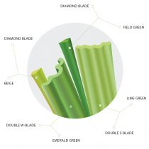 Synthetic Turf Blades: Diamond Blade, Double S, Double W with four-colors: Field green, emerald, lime green and beige.