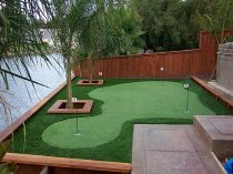Golf putting green backyard by river, water, swimming, landscape ideas artificial grass synthetic turf