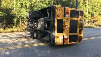 Anne Arundel school bus overturns in morning collision in Glen Burnie