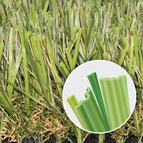 Artificial Grass multi-color, multi-shapes blades and double thatch. Super Natural 80 Global Syn-Turf.