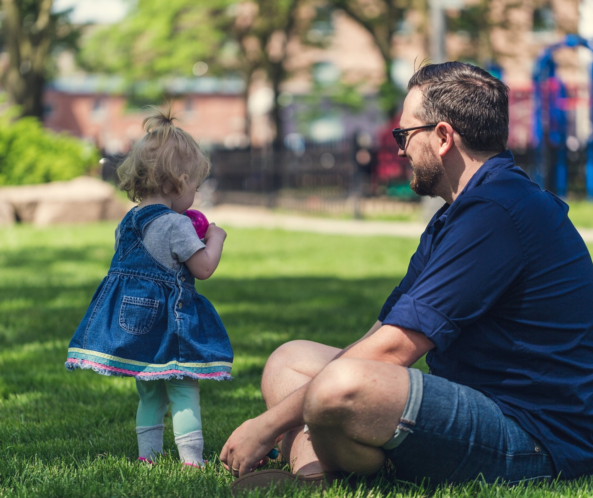 Father Daughter Lawn