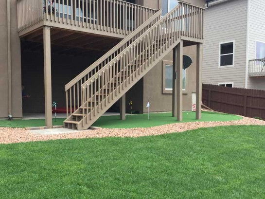 Backyard Putting Green Artificial Turf Putting Greens Home Indoor Outdoor Grass Carpet Office Golf Practice DIY Golf Green under stairs second floor balcony beige staircase landscape fence Walnut Cali