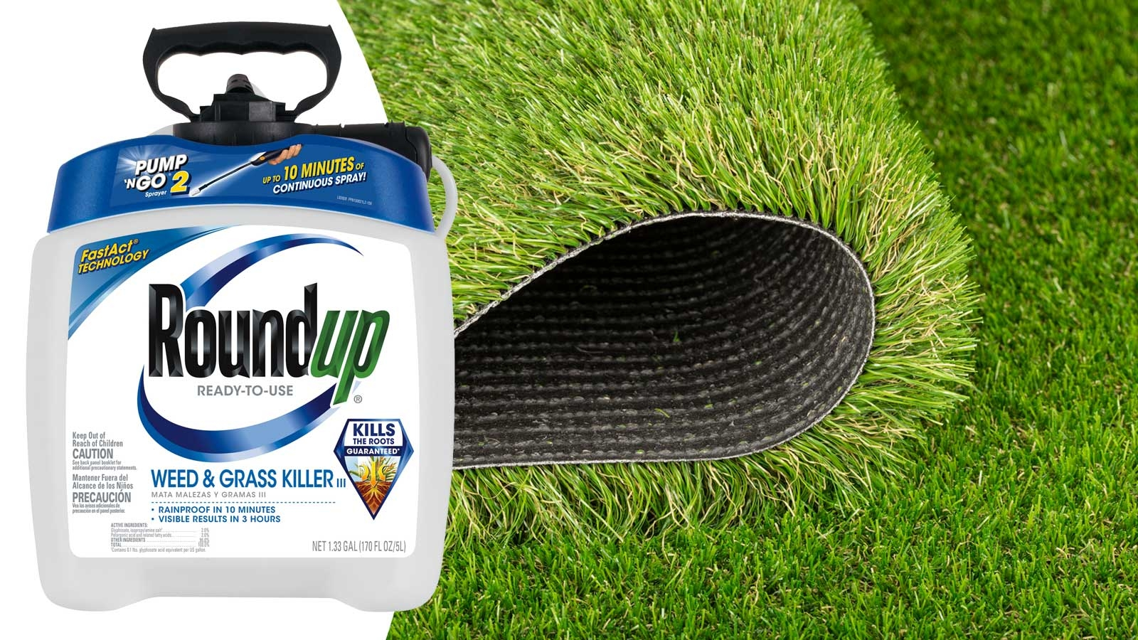 Roundup weed control artificial grass synthetic turf