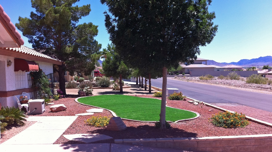 Front Yard Lawn with Small Artificial Grass Area and Tree