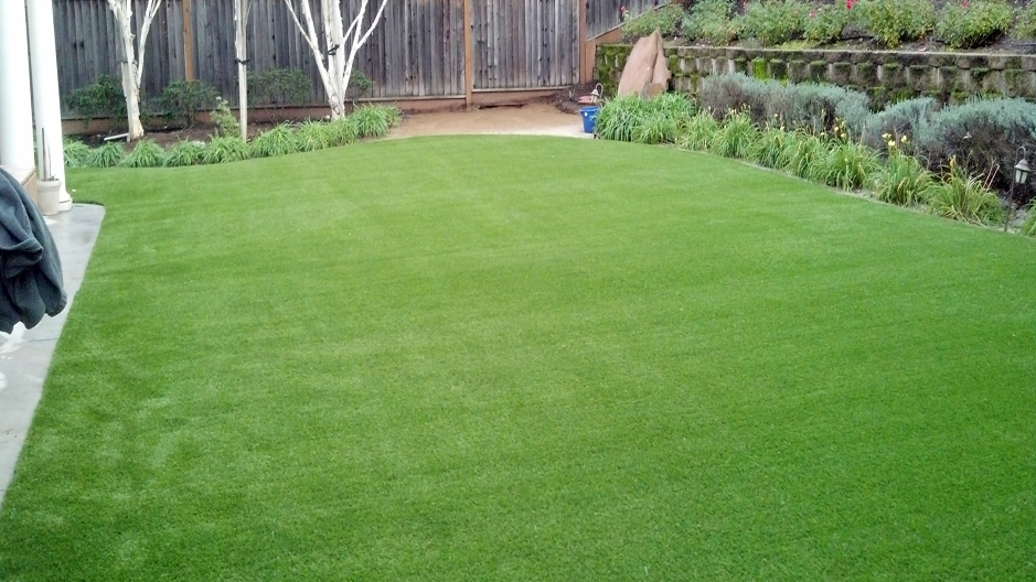 Backyard synthetic lawn green grass raised flower beds