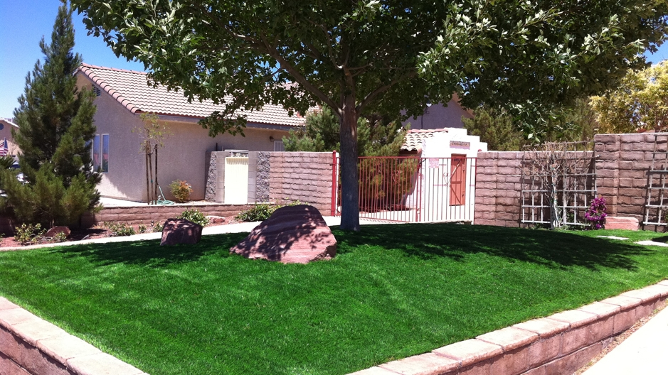 Elevated front yard green artificial grass with a tree and large rock