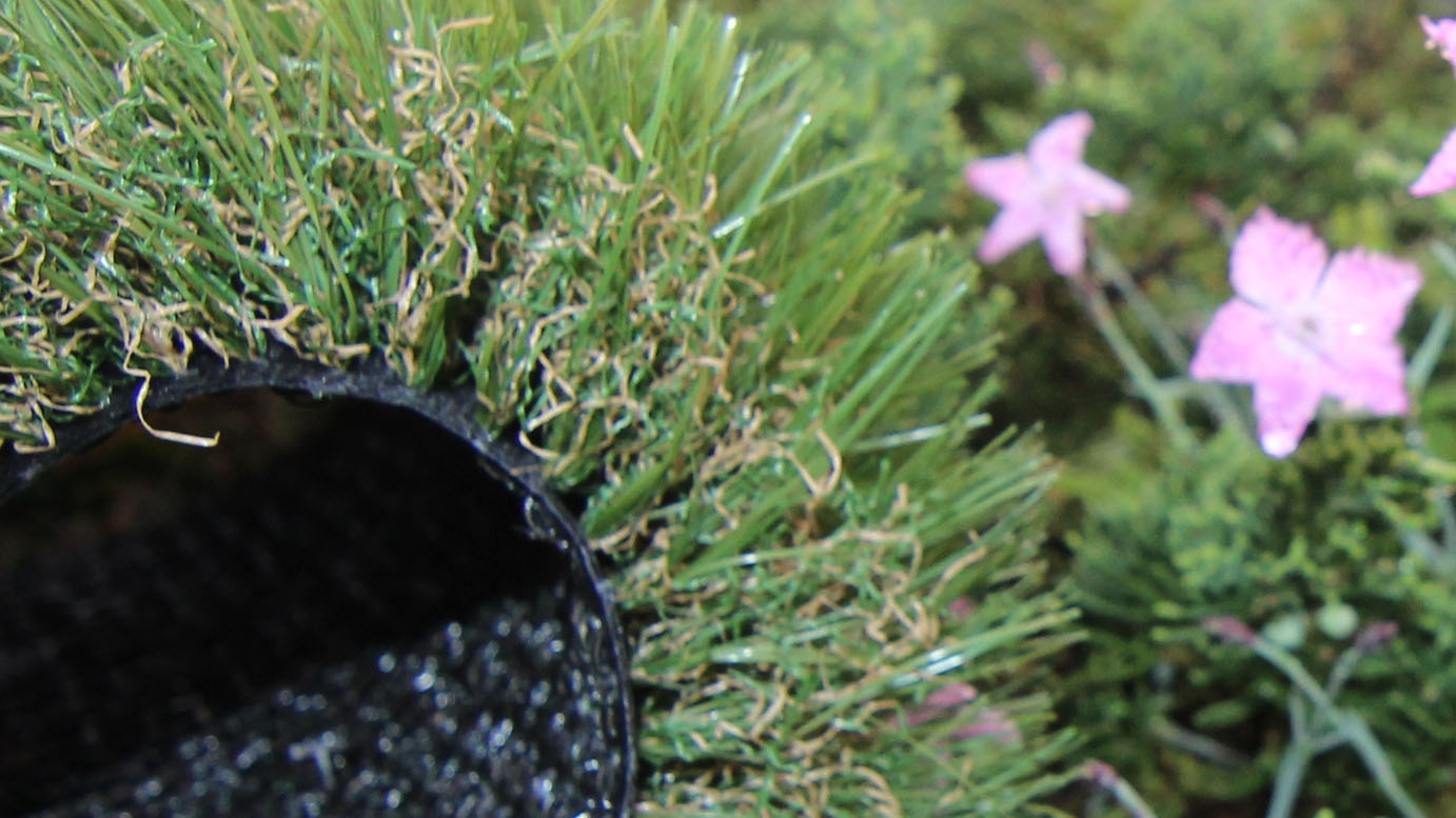 Always green grass olive Diamonds brown artificial plants garden violet flowers two black backing drainage holes fake grass