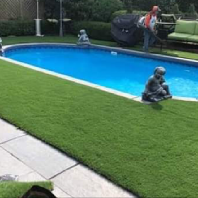 Artificial Grass Installed Over Concrete Around Swimming Pool