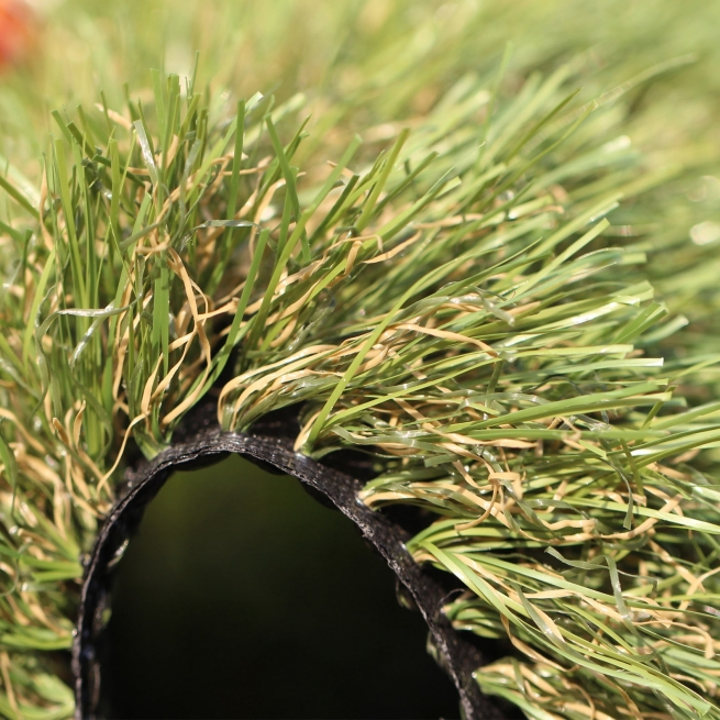 All Natural 75 oz Artificial Grass. Field Green, Olive Green colors. brown and green thatching.