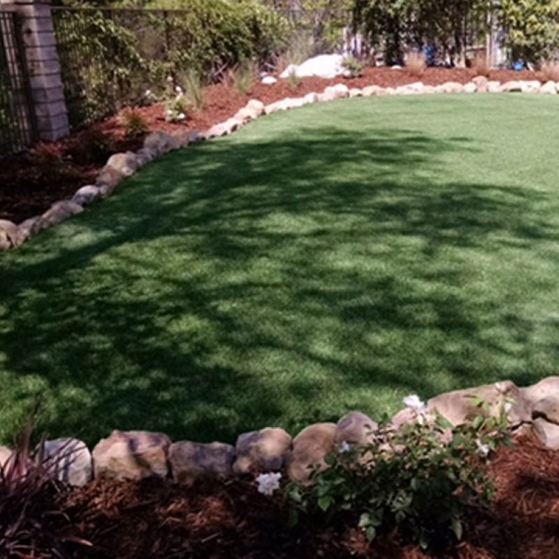 Synthetic grass backyard
