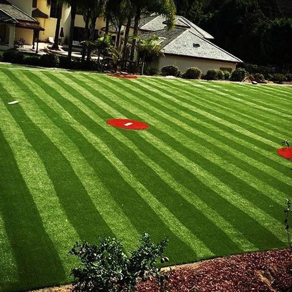 Light dark green stripes artificial grass red grass stadium sports fields soccer football multi-purpose fields synthetic turf