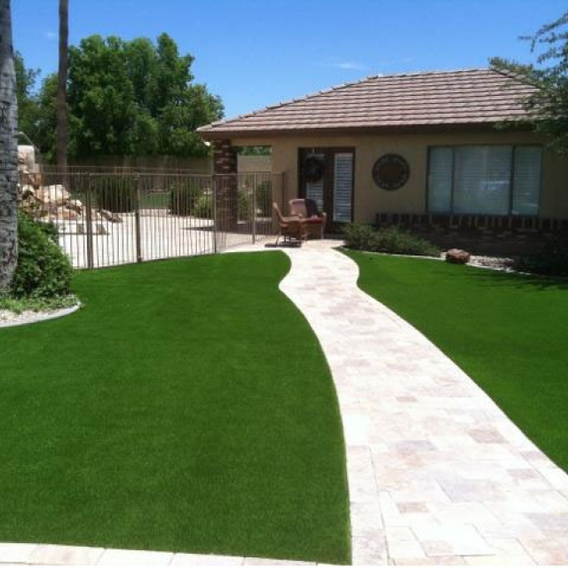 Front Yard Landscaping with Artificial Grass Cerritos, California