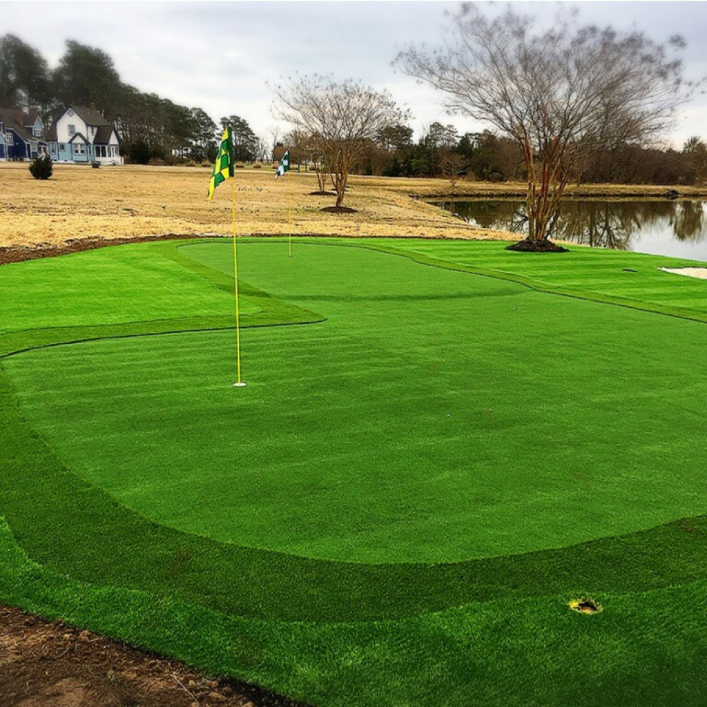Putting Greens private golf practice on the lake Raleigh NC. Compare natural grass artificial turf putting green.