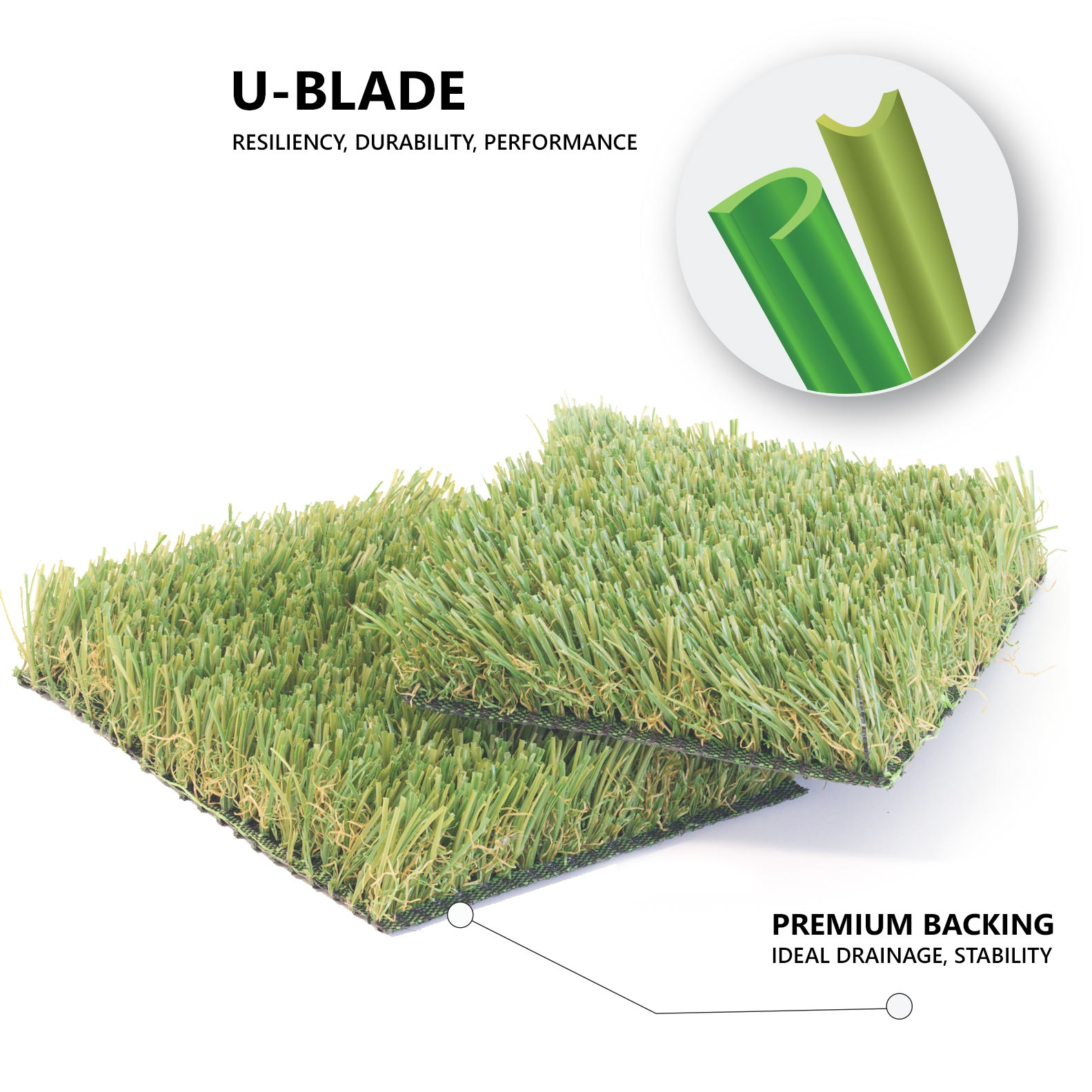 Pet Artificial Turf U-Blade shape, Premium backing, U Blade, Free Samples. Pet Turf.
