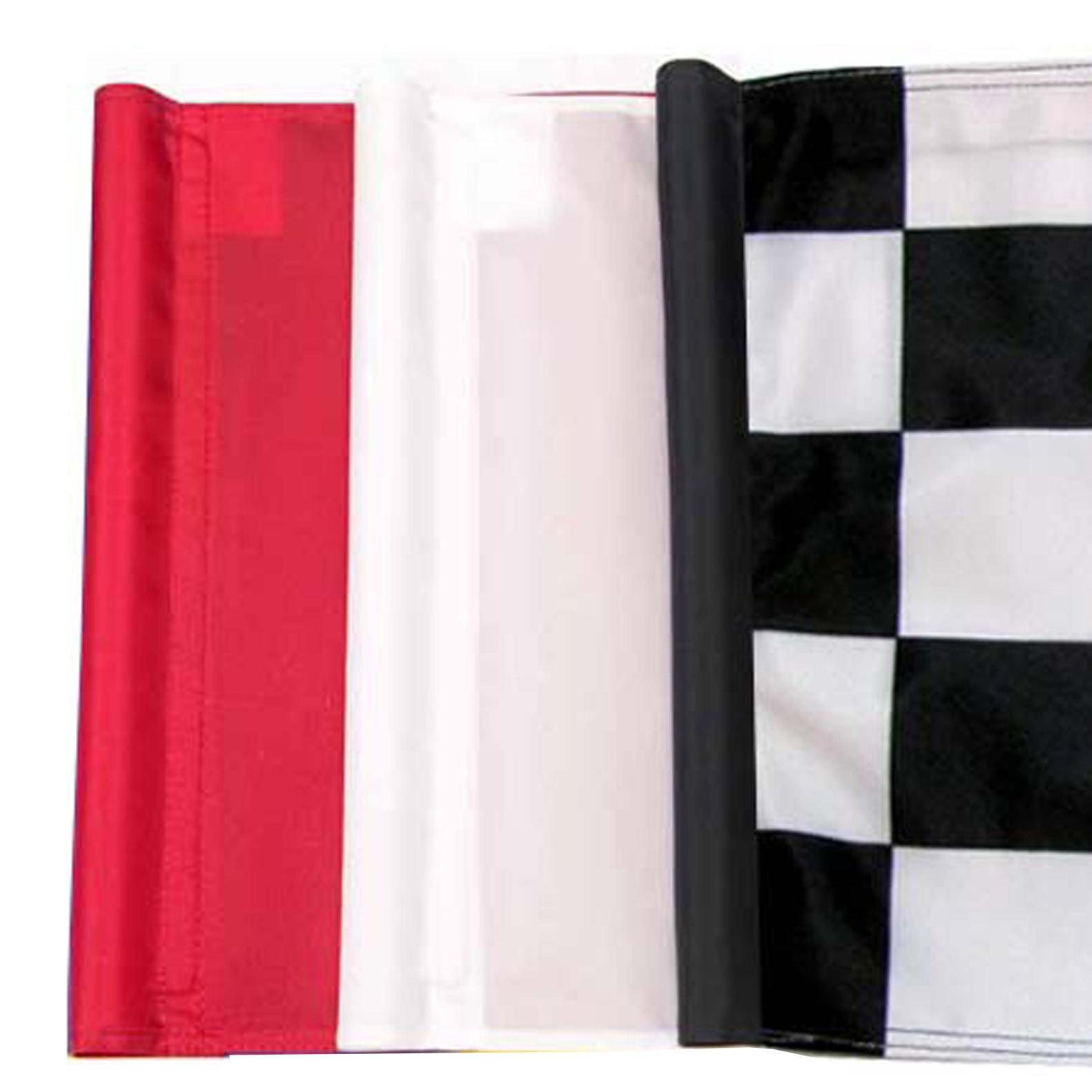 Golf Putting Greens Flags 3 Colors: red, white, checkered. Synthetic turf installation