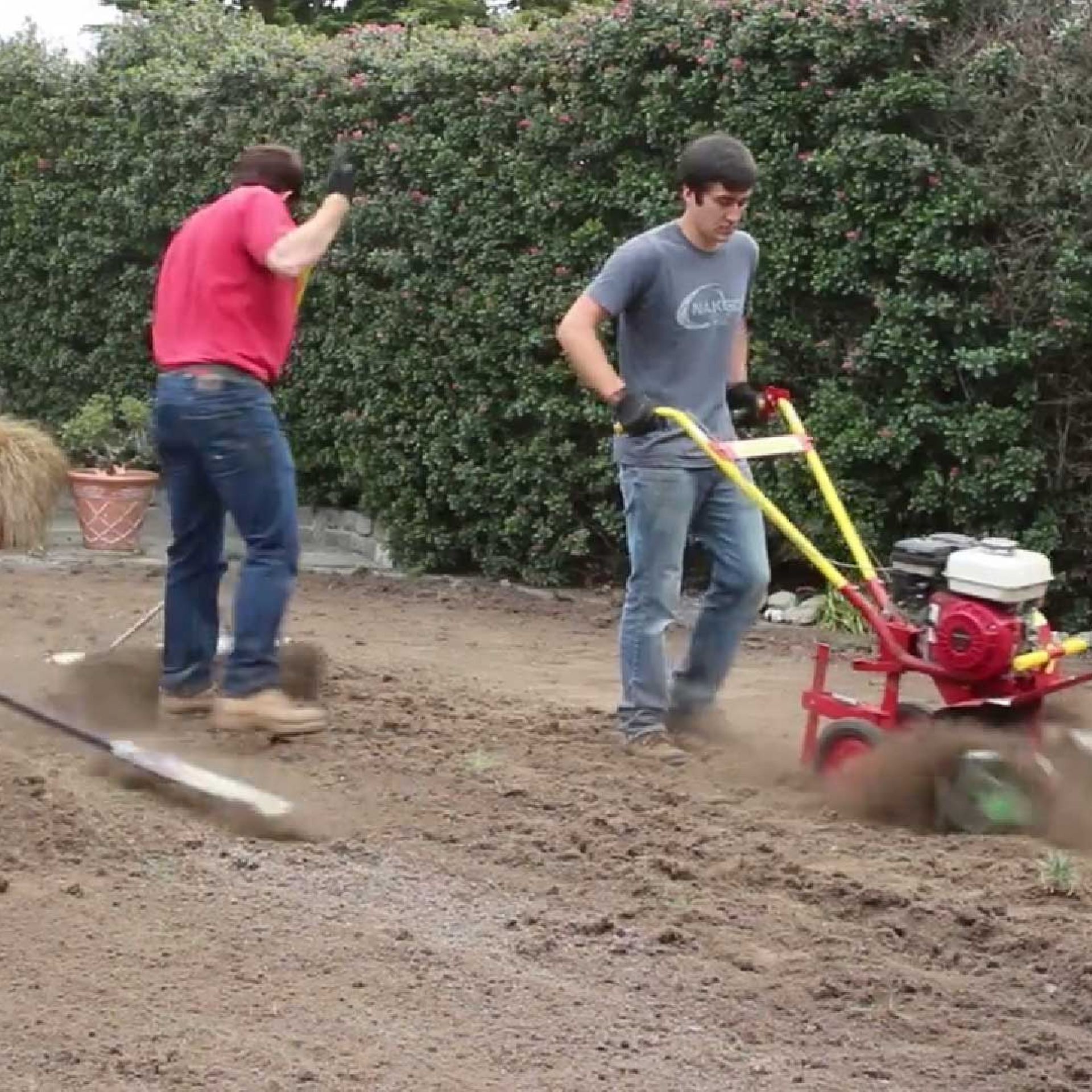 Removing soil before synthetic grass installation