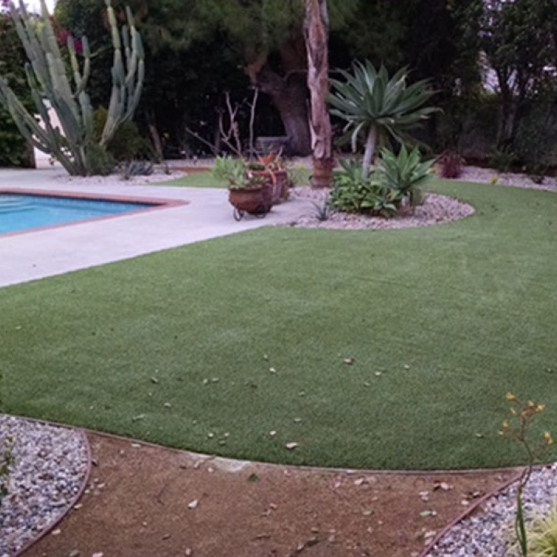 Swimming Pool Landscaping Artificial Grass in Montclair, California