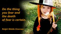 Girl in a witch Halloween Hat - Emerson Quote Fear