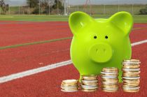 Save money, cut water bills, piggy bank, sports turf, red artificial grass stripes