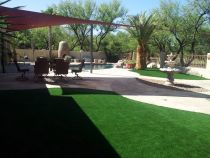 Slimming pool design, artificial grass, palm tree, hardscape, pavers, pool designs, stone, outdoor swimming pool, patio,deck, Paradise, California