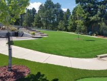 Artificial grass synthetic fake turf pavers green lawn red mulch tree hardscape design park trees steps landscape ideas Banning California