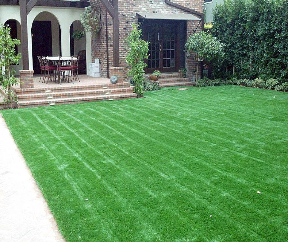 Backyard landscape yard garden with lawn stripes