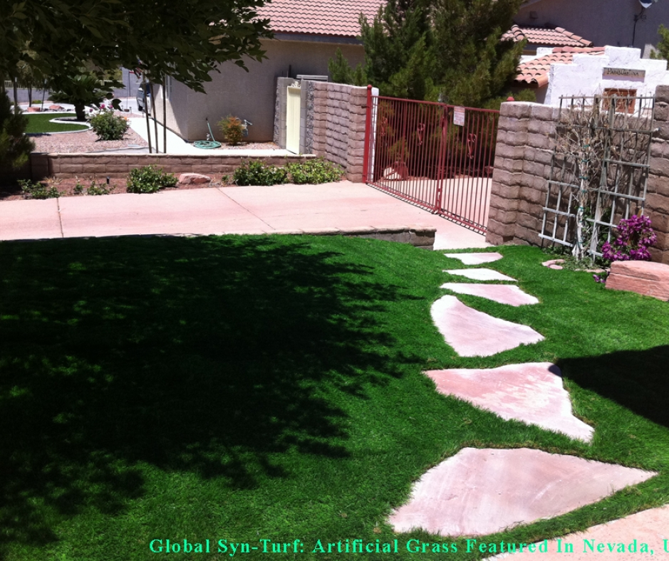 Artificial synthetic grass turf front yard stepping stones fence