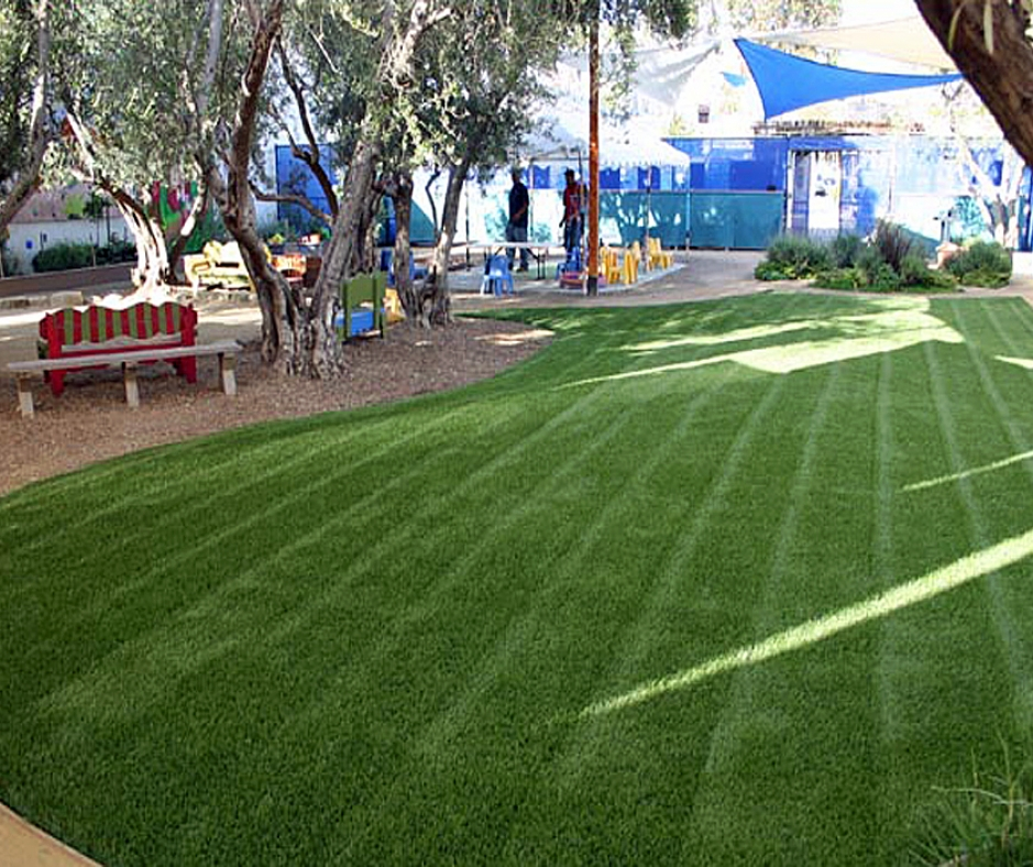 Grass Stripes on Synthetic Lawn Artificial Grass Green with playground