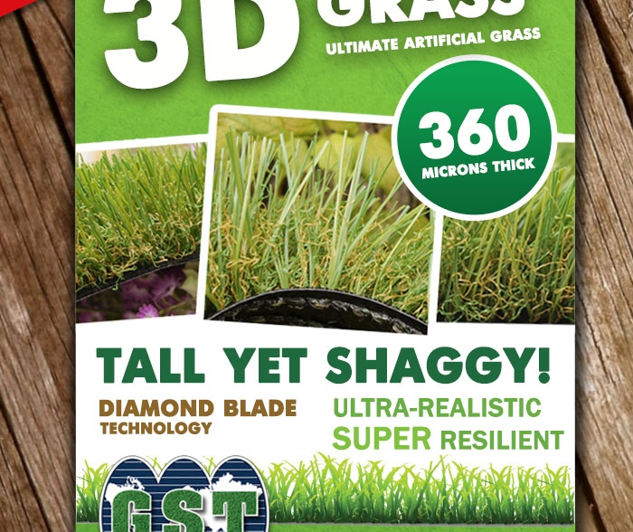 Synthetic turf 360 microns 3D grass tall yet shaggy diamond blade technology realistic resilient durable best artificial grass