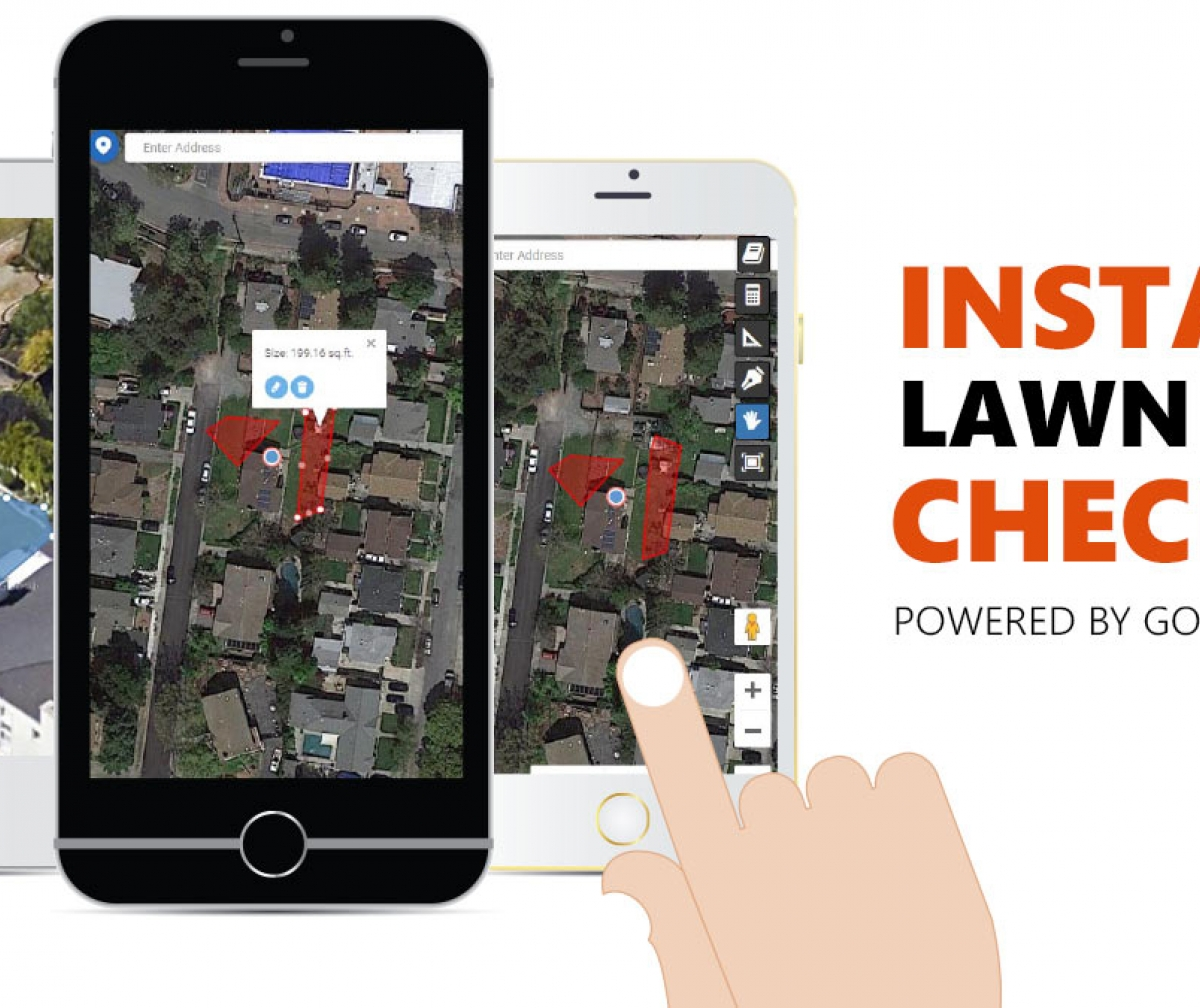 Lawn Size Instant Checker Online by Global Syn-Turf works on any cell phone, iPhone, Android