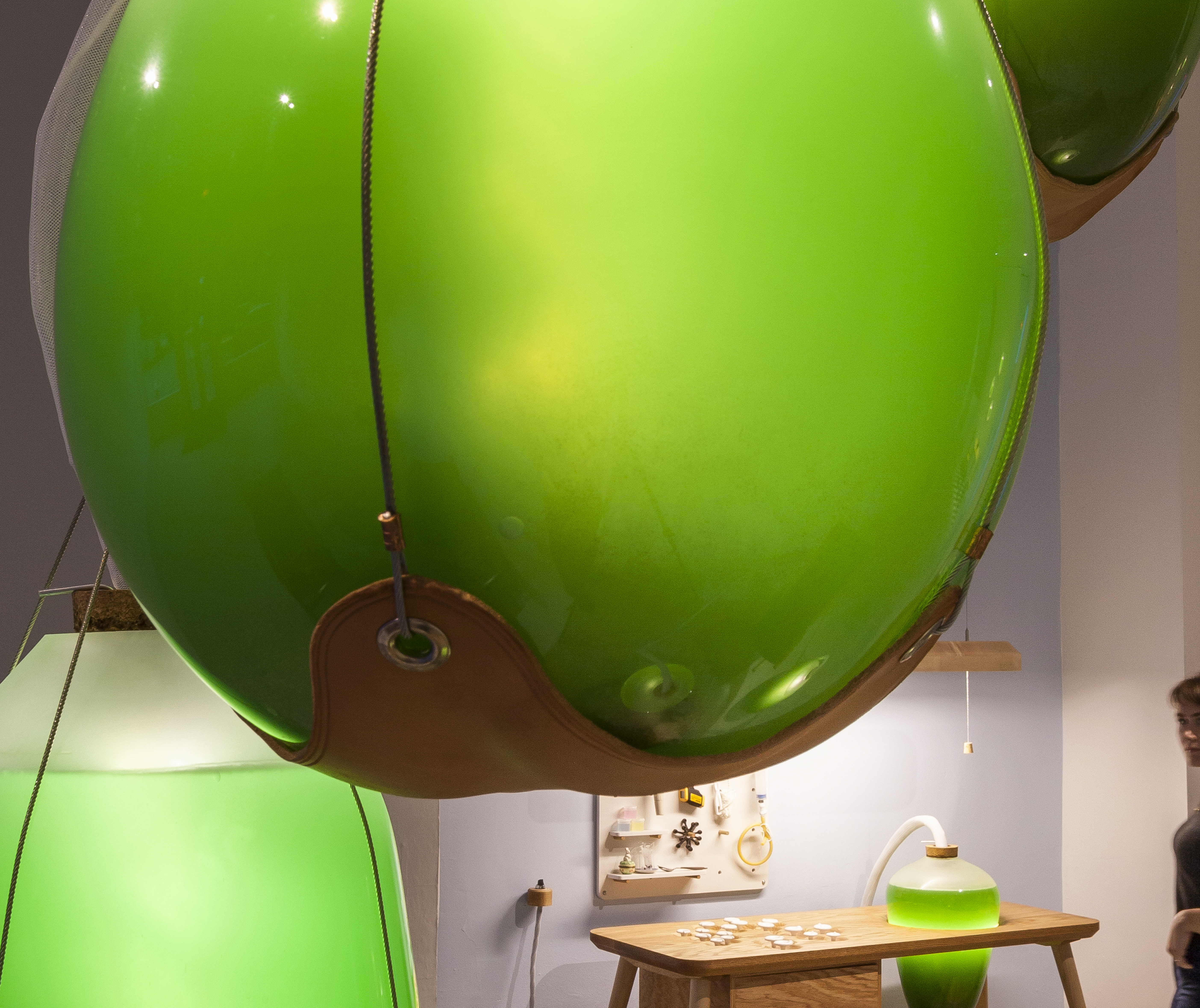 Lamps filled with glowing, living algae