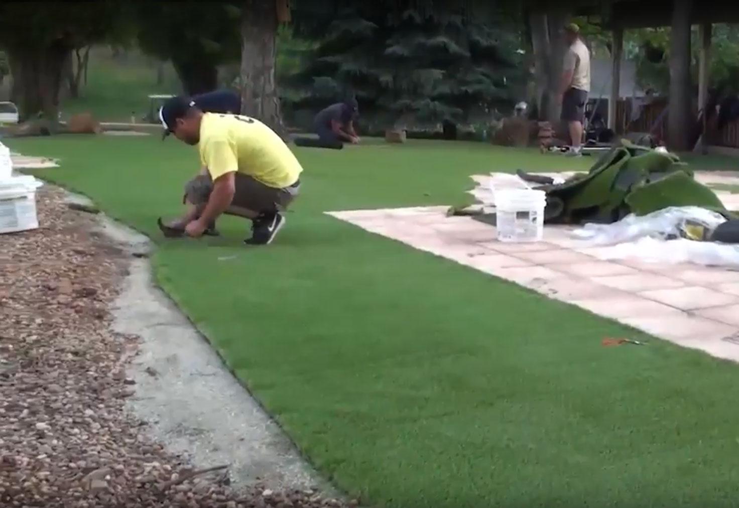 Artificial grass installation - nailing perimeter