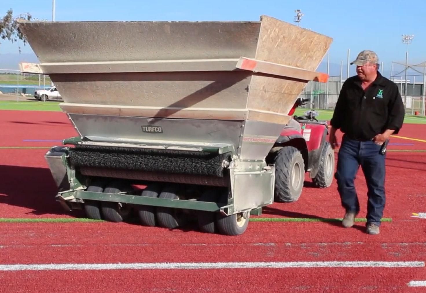 Sports complex red artificial grass