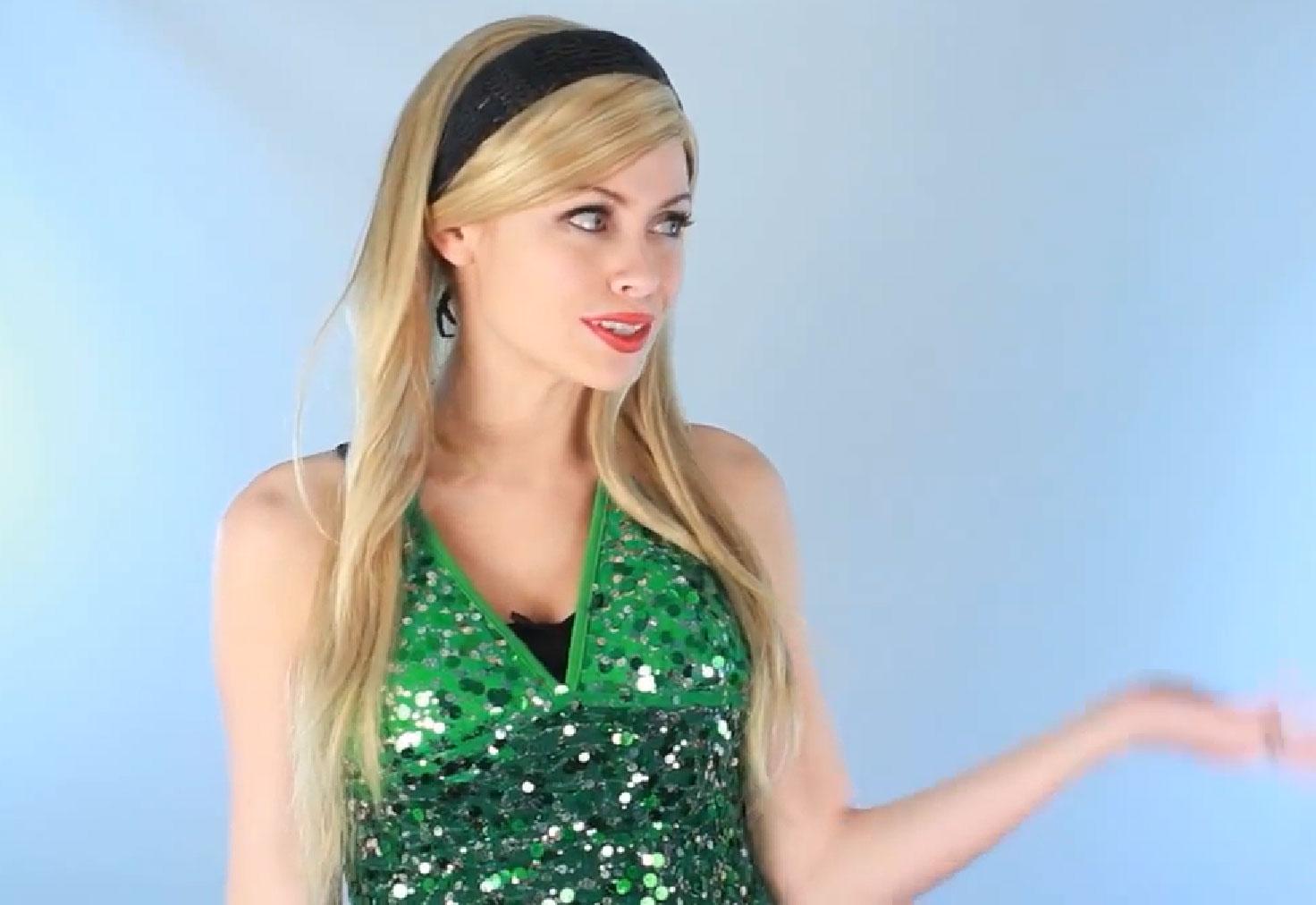 Blond girl in green short