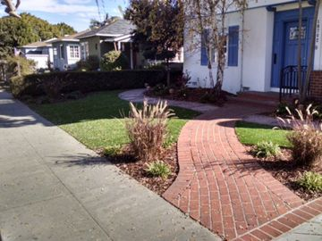 Front yard landscaping ideas stones bricks artificial grass drought landscape Rubidoux, California