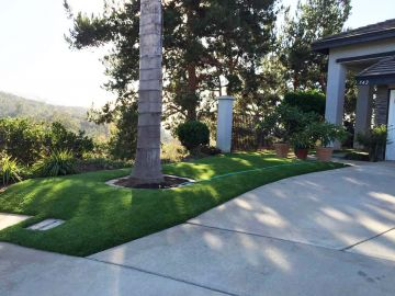 Front yard lawn landscape ideas palm trees artificial grass synthetic turf green lawn white house driveway concrete street walk