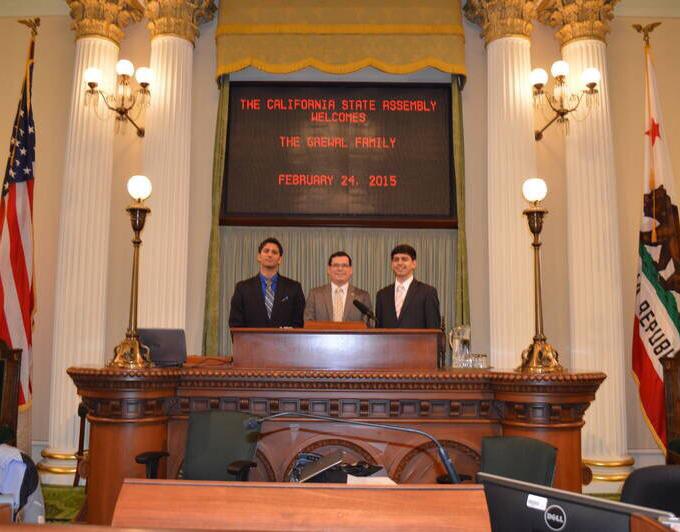 Brothers Arijeet and Rajvarun Grewal at conference