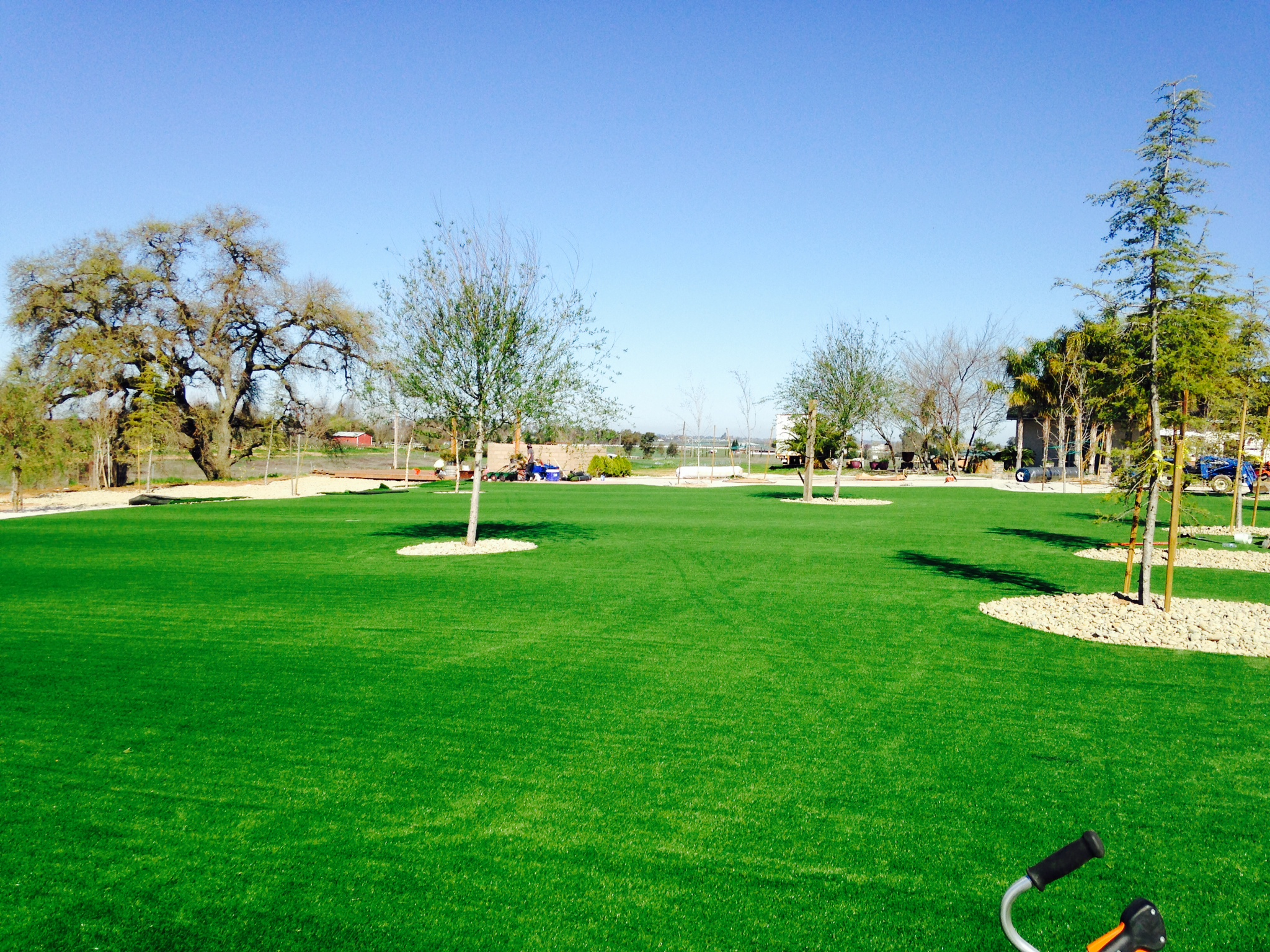 Artificial grass installation green synthetic lawn trees landscape open park fake grass Goleta California grass outdoor carpet