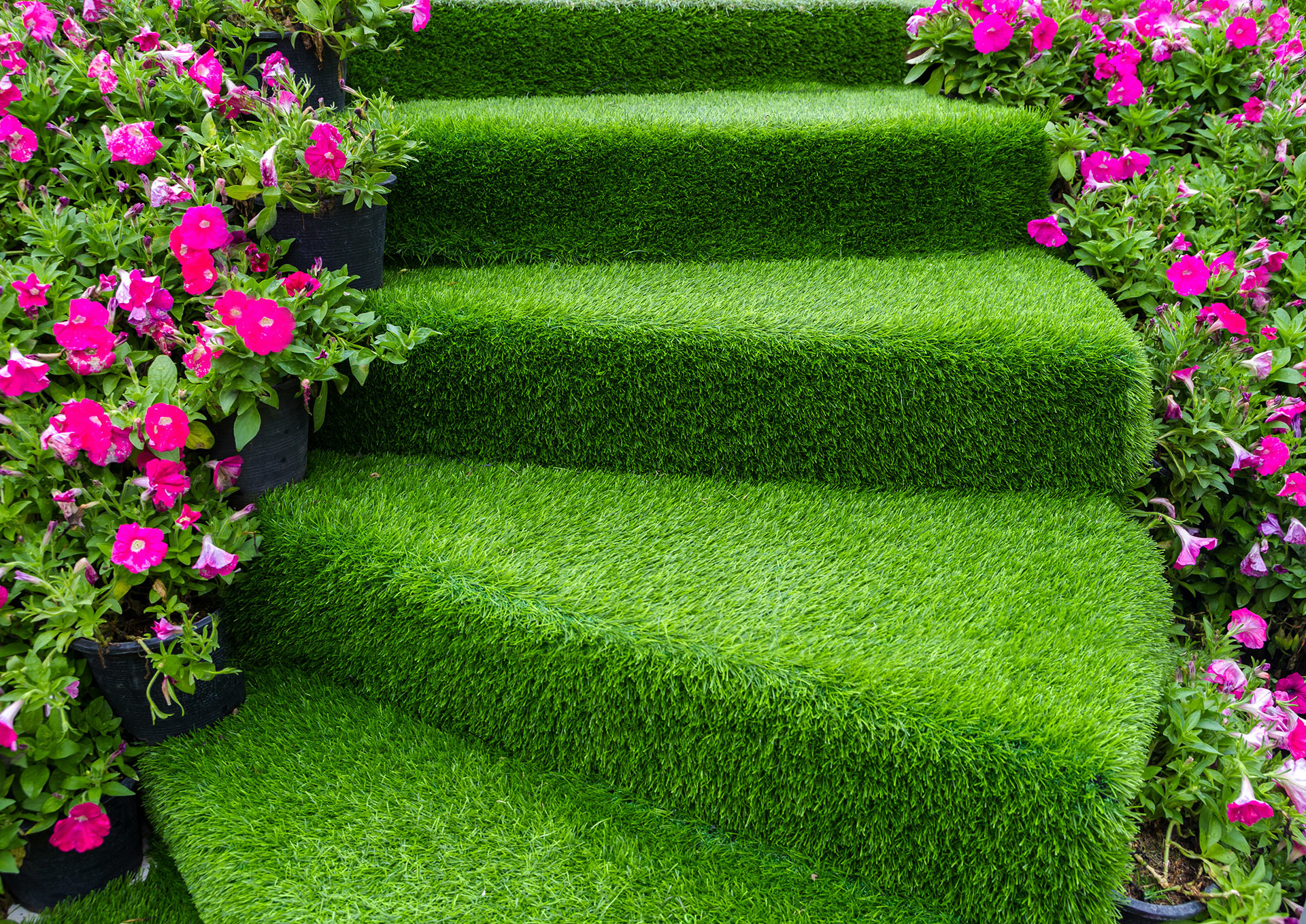 artificial grass stairs pink flowers