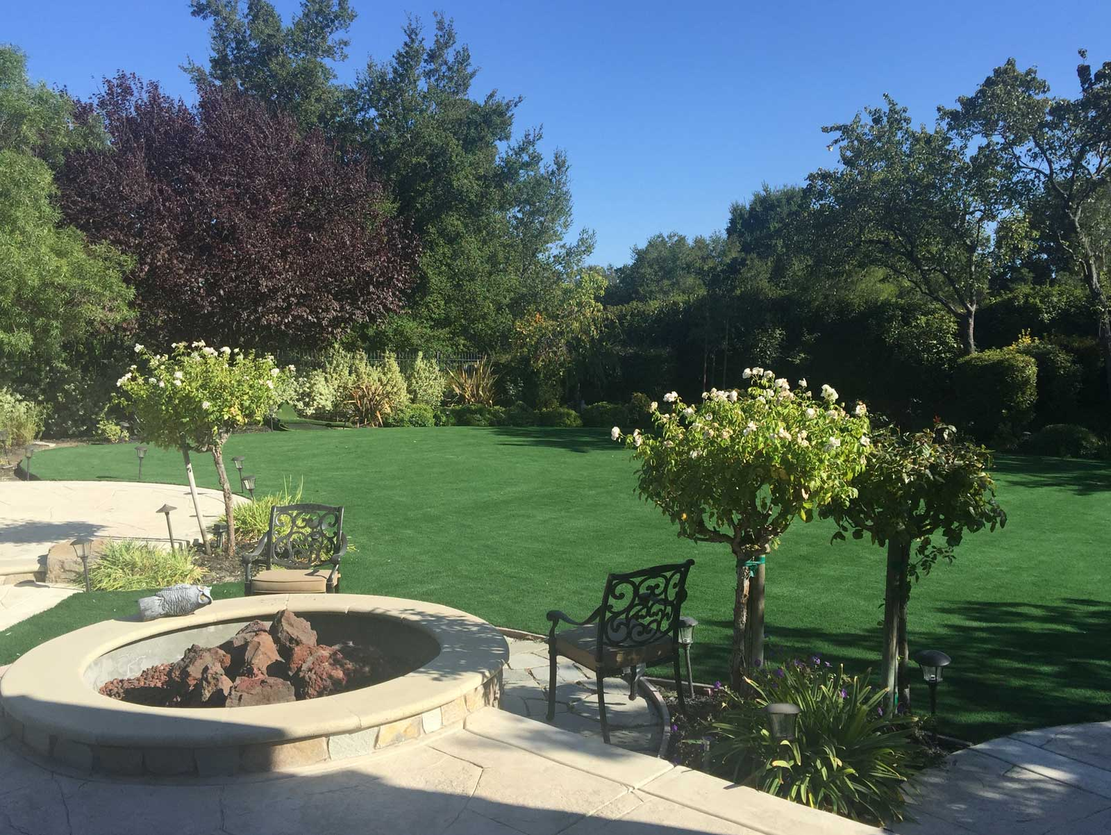 Artificial Grass backyard garden ideas rose trees firepit patio synthetic turf installation