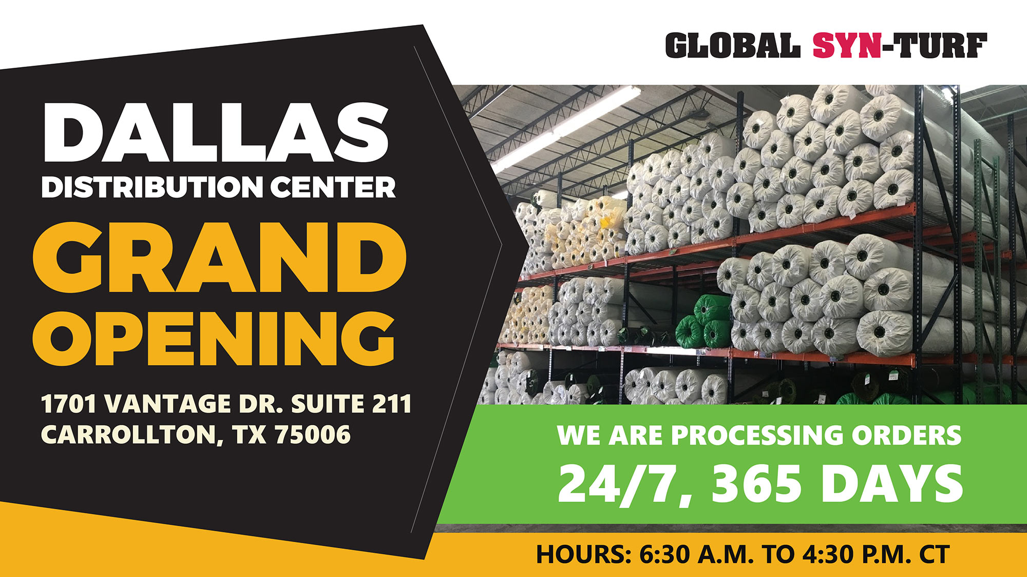 Dallas Artificial Grass Distribution Center and Warehouse Grand Opening