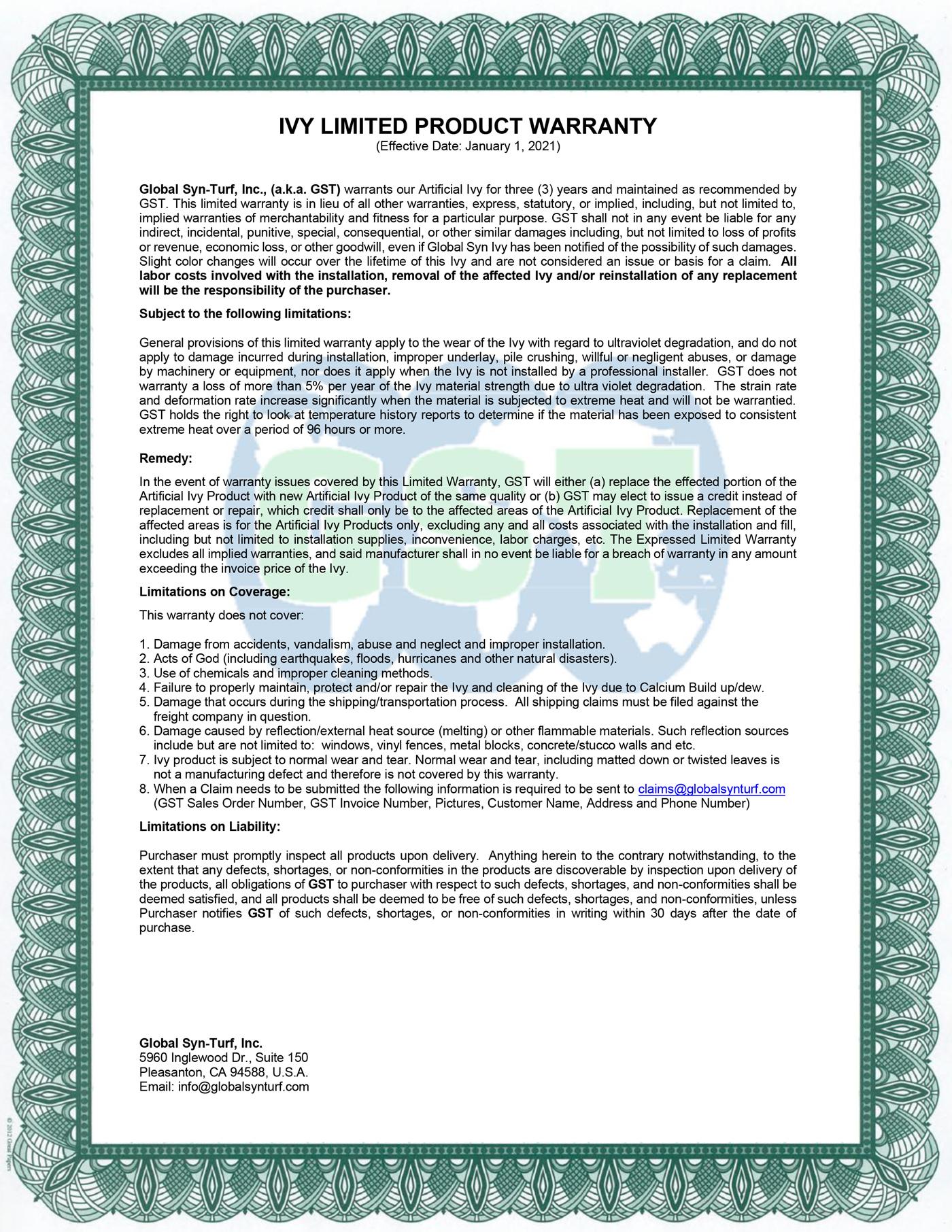 Global Syn-Turf Artificial Ivy Warranty