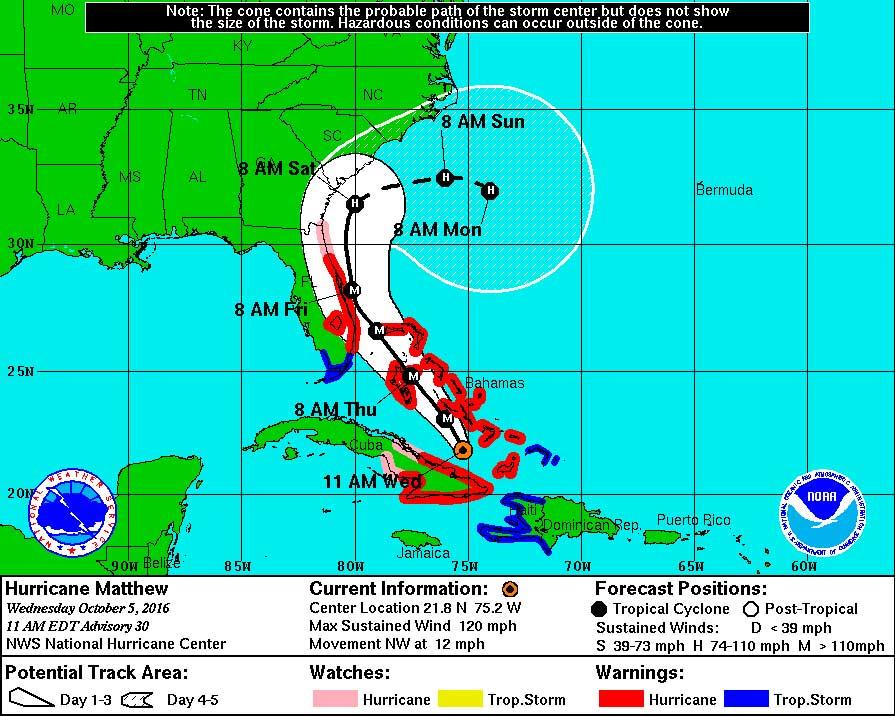 Hurricane Matthew map East coast Florida South Carolina North Carolina. Red zone