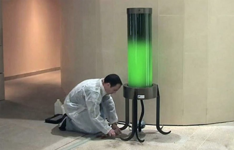 Living Microalgae Lamp Absorbs CO2 from the Air