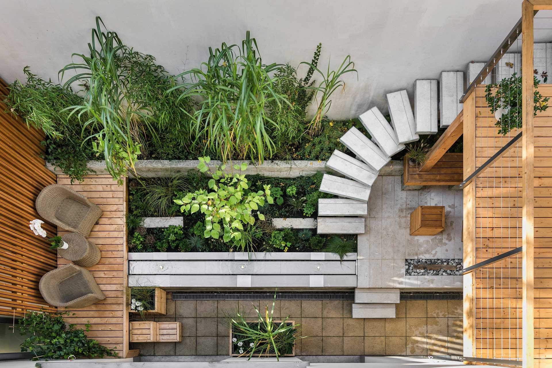 Asymmetrical landscape design patio