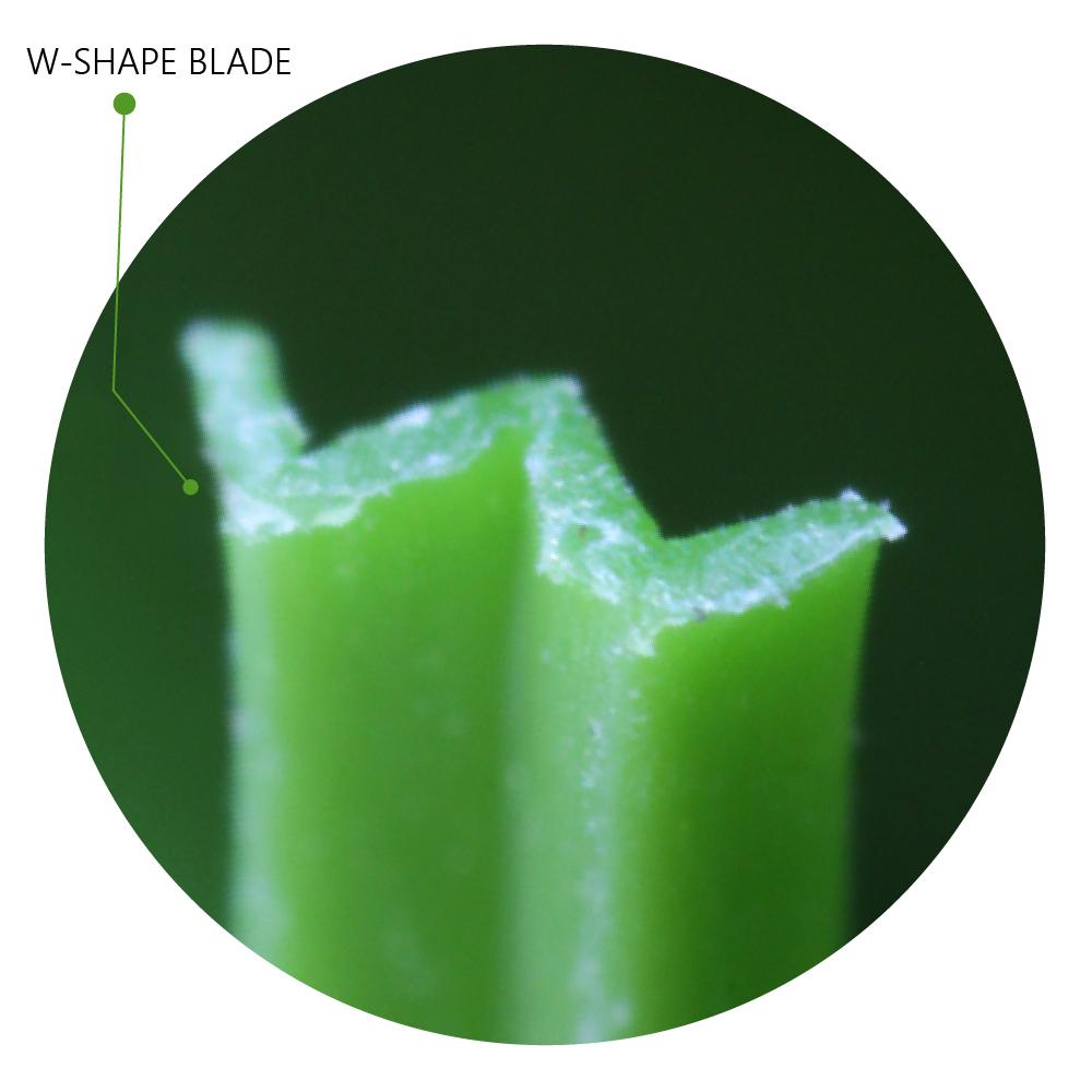 W-Shape Blade under microscope artificial grass blade fiber synthetic turf