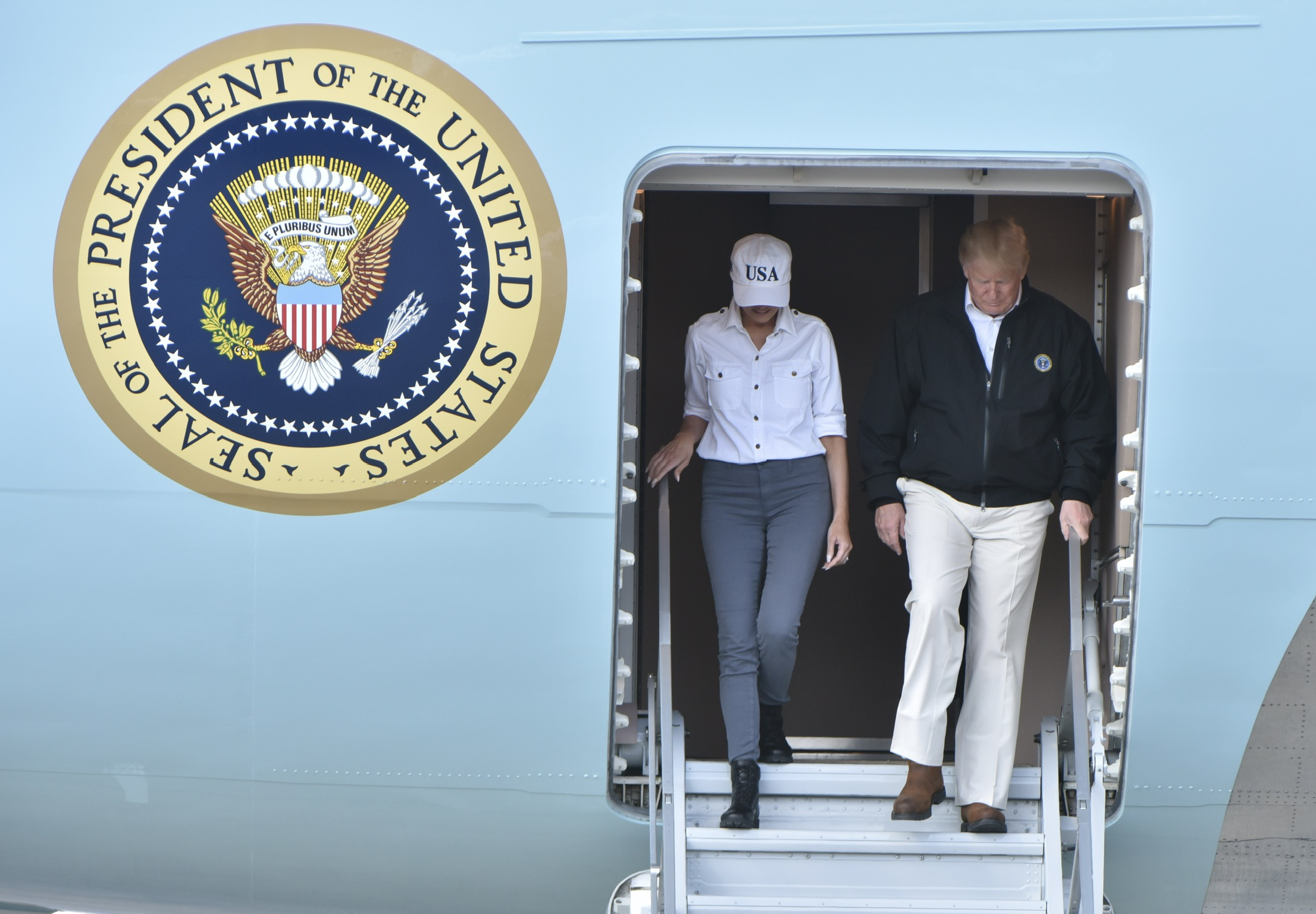 President Trump and First Lady land in Georgia, survey storm damage