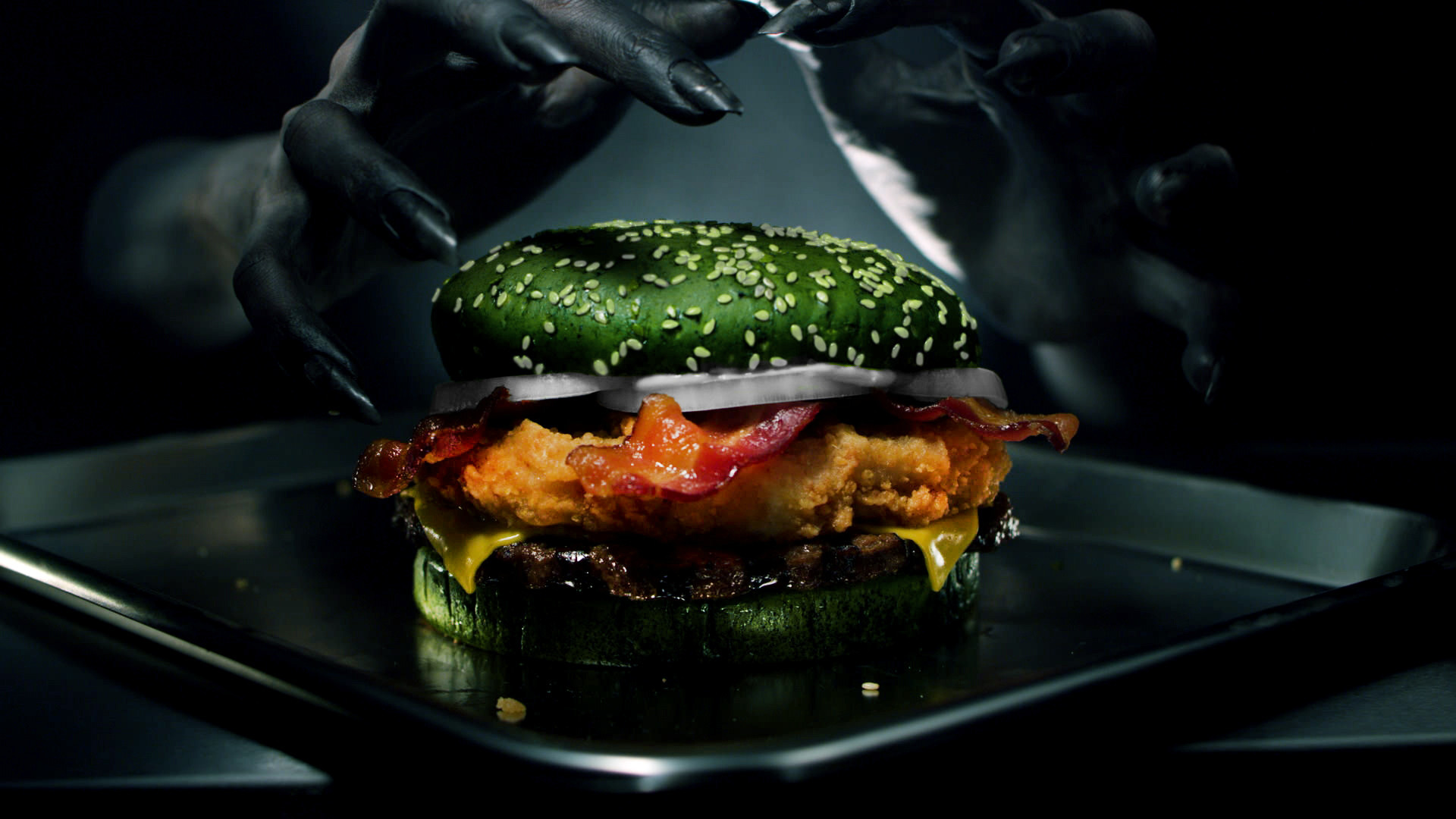 Burger Kings new green bun Halloween sandwich follows black bun special that turned poop green
