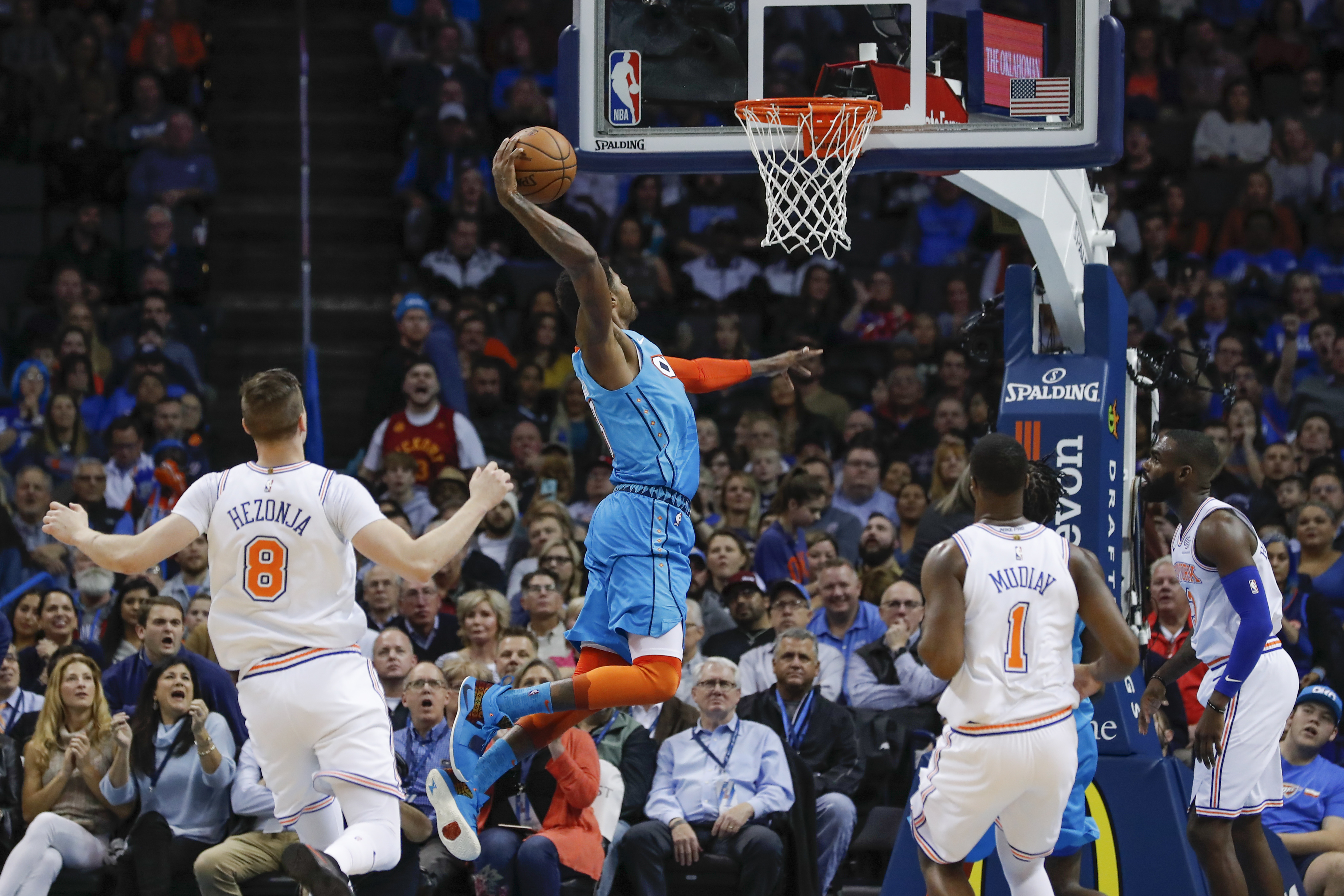 George scores 35 points, leads Thunder past Knicks 128-103